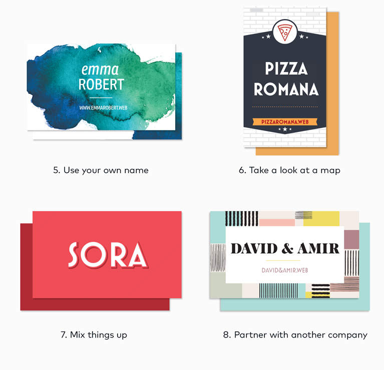 brand name ideas shown on various business cards