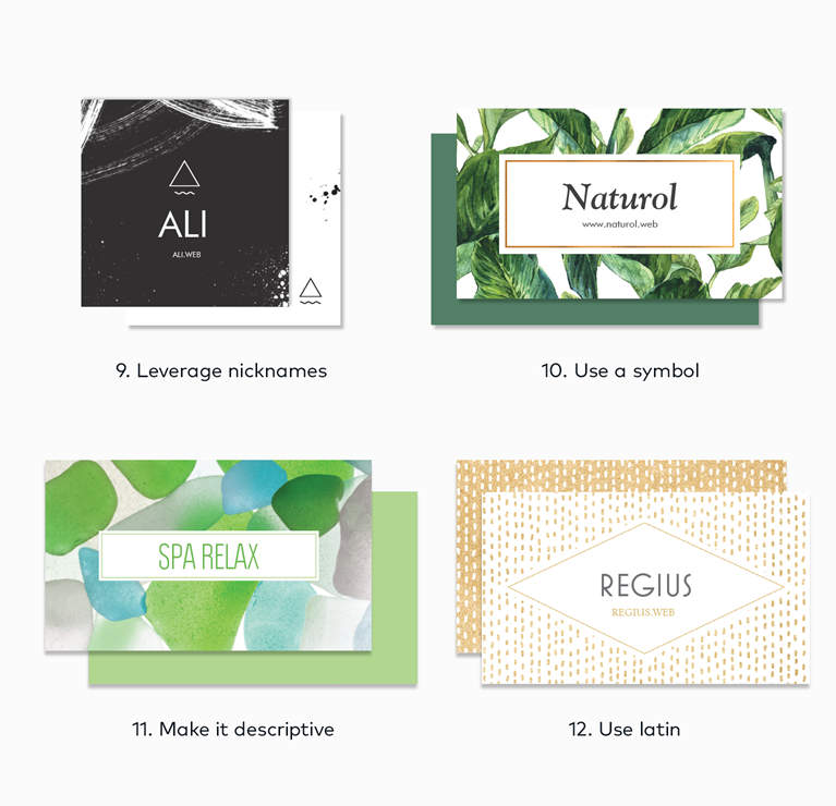 company name ideas shown on different business cards with branding